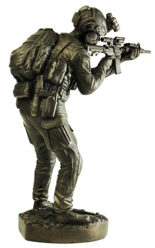 Bronze Naked Army Helicopter Pilot Figurine ; Naked Army